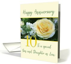 Son and Daughter in Law 10th Wedding Anniversary Yellow Rose card 15th Wedding Anniversary, Happy Anniversary Cards, Anniversary Surprise, Golden Anniversary, Online Greeting Cards, Yellow Roses, Wedding Cards, Law, Daughter