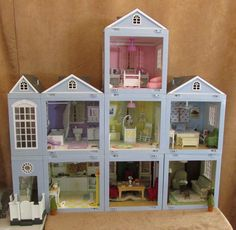 Laura Ashley Decorator Dollhouse LOT Rooms Roof Furniture 8 Room Staircase 2001 | eBay