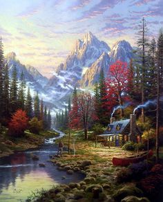 Thomas Kinkade The Good Life art painting for sale; Shop your favorite Thomas Kinkade The Good Life painting on canvas or frame at discount price. Fantasy Landscape, Landscape Art, Landscape Paintings, Oil Paintings, Thomas Kinkade Art, Kinkade Paintings, Thomas Kincaid, Art Thomas, Beautiful Paintings