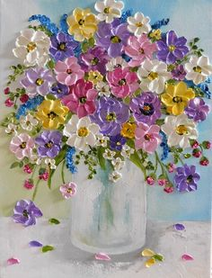 Custom Wildflower Oil Impasto Painting, Impressionistic Oil Floral Painting Oil impasto wildflower painting to make your home feel like summer! Small Paintings, Beautiful Paintings, Floral Paintings, Paintings Of Flowers, Vase Of Flowers Painting, Painted Flowers, Art Floral, Tulip Painting, Knife Painting