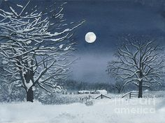 Moon Painting - Moonlit Snowy Scene On The Farm by Conni Schaftenaar Night Sky Painting, Painting Snow, Moon Painting, Winter Painting, Painting Tips, Snow Covered Trees, Snowy Trees, Winter Scenes To Paint, Winter Szenen