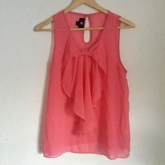 Chiffon Pink Bow Tank Only used once. Very cute and looks great with a pair of black skinny jeans or leggings. Tops Tank Tops