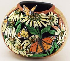 "Phyllis Sickles, Gourd Craftsman: ""Monarch Butterflies"""