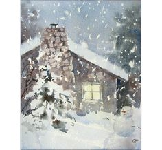 Cozy Winter House Watercolor Painting by CMwatercolors