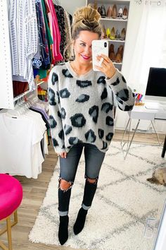 Printed Denim, Printed Skirts, Leopard Sweater, Leopard Print Top, Ootd, Colourful Outfits, Cute Casual Outfits, Sweater Outfits, Boutique Clothing