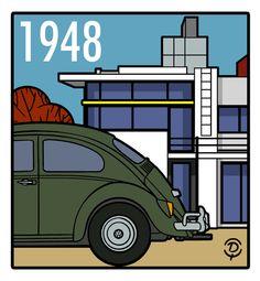 DELIUS DESSINATEUR: AUTOMOBILE VW Beetle 1948