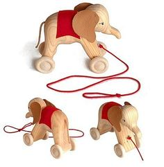 Grimm's Wooden Pull Along Elephant Handcrafted Push/Pull Toy on Wheels, Natural by Grimm's Spiel and Holz Design,