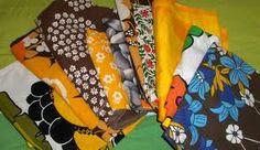 Retrokankaista tehdyt käsityöt, esim. lasten vaatteet, koristetyynynpäälliset, olkalaukku, pannumyssy jne.