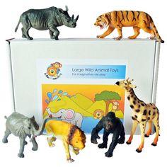 Large Plastic Toy Wild Animals Set of 6