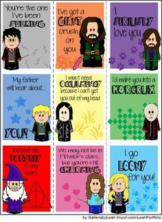 Harry Potter Valentines ...lol cute...too bad Hagrid's umbrella looks a little x-rated LOL