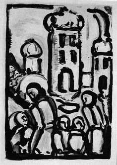 Georges Rouault (French, 1871-1958): The Passion and Les Fleurs de Mal - Christ among the poor (C&R 258). Original etching and aquatint, 1935.