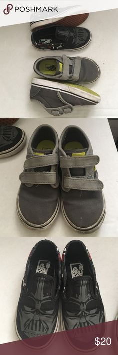 Vans sneakers for boys This listing is for both pairs. Black ones are Star Wars slip ons. Gray pair with Velcro closure. Canvas material. Used a few times with some scuffing. Vans Shoes Sneakers