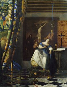Johannes Vermeer | Allegory of the Catholic faith,  c. 1670-72 114.3 x 88.9 cm Oil on canvas Unsigned The Metropolitan Museum of Art, New York