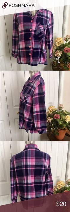 Victoria's Secret pink plaid cosy flannel shirt This Victoria's Secret flannel shirt is pink, purple and navy blue plaid with pink piping along the placket and collar hems. This top has side vents at the bottom with a front breast pocket.   Size S, it fits oversized with measurements of approximately 20 inches pit to pit and 24 inches shoulder to hem. 20 inch sleeves. Cosy flannel comfort for lounge days 😊  EUC. No pilling, holes, stains.  10% bundle discount in my closet💕 Victoria's…