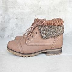 These boots feature a faux leather upper with a lace-up front and man-made sole. - imported - Heel height/type: 1-inch - Platform height: 0.25-inch - Shaft height: 4.75 inches - Circumference: 10 inch