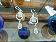 De La Luna Rainbow Moonstone Earrings | Stones in Harmony - GORGEOUS Blue flash and lightweight dangles will soon become the earrings you live in! Just lovely! Take off 10% by using the coupon 10Pinterest at checkout.