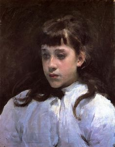 """John Singer Sargent (1856-1925)Young Girl Wearing a White Muslin BlouseOil on canvas188548.895 x 40.64 cm(19¼"""" x 16"""")Private collection"""