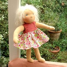 new Anita is a 15'( 38 cm) waldorf handmade cloth doll     She is made from cotton jersey fabric,   stuffed with pure clean and carded natural wool.  Her hair is made of white mohair yarn  Her sweet face is hand embroided.  Pink dress made of cotton fabric.  look for addition dress in my shop    Convo mi for variations .