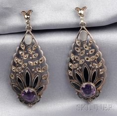 Art Deco Sterling Silver, Amethyst, and Marcasite Earpendants, Theodor Fahrner