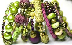 Multiple Bangles Purple Bracelets Green Bracelets Stacked Bracelets Layered Look Bracelets. $32.00, via Etsy.