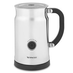 The Nespresso Aeroccino Plus Milk Frother works much like a tiny electric kettle: the chrome pitcher plugs into the wall, and transforms cold milk to hot, voluminous milk with the push of a button.