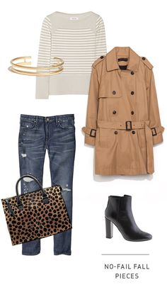 > MIH Jeans Striped Top > Brass Twin Cuff  > Short Tan Trench Coat > Gap Destructed Straight Skimmer Jeans > Clare V. Leopard Sadrine Bag  > J.Crew Rory Ankle Boots