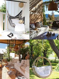 """Relaxing Patio Design Ideas - Hutsly. The Joneses have got new garden furniture; and they're bragging about it. Of course your competitive self is thinking: """"I could do better"""". But decorating a patio, a backyard, a porch, a balcony or a terrace is no easy task and you may be lost for ideas. Where to start? Right here!"""