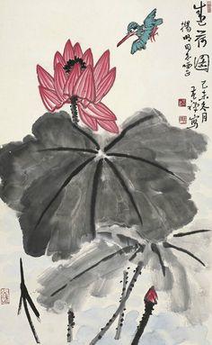 Li Kuchan (or Li Yan)(李苦禅) ,  盛荷图