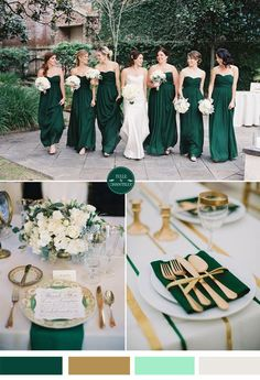 emerald green and gold fall wedding color ideas and bridesmaid dresses trends autumn wedding colors / wedding in fall / fall wedding color ideas / fall wedding party / april wedding ideas Wedding Themes, Wedding Decorations, Wedding Dresses, Green Theme Weddings, Forest Green Weddings, Wedding Theme Ideas Unique, Wedding Venues, Gold Weddings, Wedding Vows