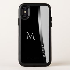 Elegant black white silver name and monogram OtterBox symmetry iPhone x case - monogram gifts unique design style monogrammed diy cyo customize