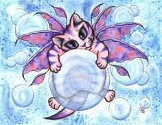 Bubble Fairy Kitten  - Fine Art America Pixels, Carrie-Hawks.Pixels.com Copyright - Carrie Hawks, Tigerpixie Fantasy Cat Art. More Prints, Jewelry & Gift Items featuring this image are available on my website - Tigerpixie.com