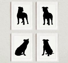 Pitbull Set of 4, Dog Home Decor, Pit bull Silhouette, Ink Painting, Animal Drawing Wall Decor, Dogs Illustration by ColorWatercolor on Etsy