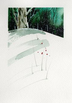 Hand painted Watercolor Christmas Card by mjonesart on Etsy Watercolor Landscape, Abstract Watercolor, Watercolour Painting, Painting & Drawing, Watercolours, Watercolor Christmas Cards, Christmas Art, Art Lessons, Hand Painted