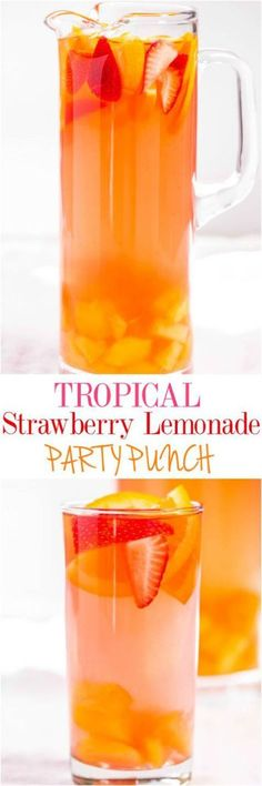 The BEST Easy Non-Alcoholic Drinks Recipes – Creative Mocktails and Family Friendly, Alcohol-Free, Big Batch Party Beverages for a Crowd! - Tropical Strawberry Lemonade Party Punch Recipe via Averie Cooks – Sweet and citrusy with a tropi - Party Drinks Alcohol, Fruit Drinks, Drinks Alcohol Recipes, Cocktail Drinks, Alcoholic Punch Recipes, Drink Recipes Nonalcoholic, Sangria Recipes, Tropical Punch Recipe Non Alcoholic, Alcoholic Drinks Made With Lemonade