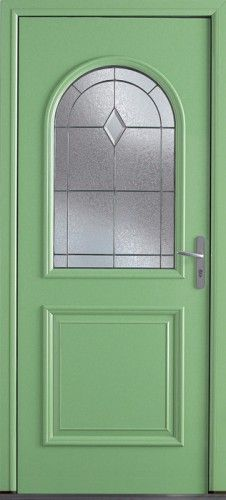 Porte aluminium, Porte entree, Bel'm, Classique, Poignee plaque gris deco bel'm, Mi-vitree, Double vitrage givre, montreal