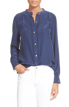 FRAME 'Le Pleated' Silk Blouse available at #Nordstrom