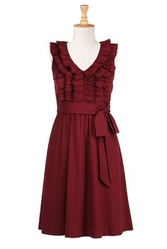 Goffered frill dress. Love this red. #eShakti