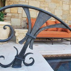 Outdoor metal handrails.