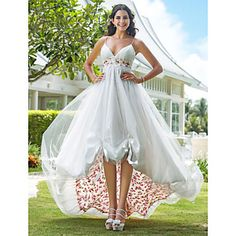 Wedding Dress A Line Asymmetrical Organza V Neck With Flower Pattern and Sash – USD $ 179.99