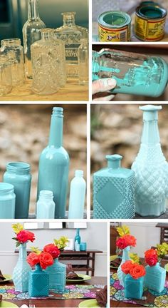 diy centerpiece idea (enamel painted glass) | Pinterest Most Wanted