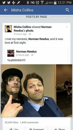 Misha met Norman.... How can there be so much awesomeness in one room?