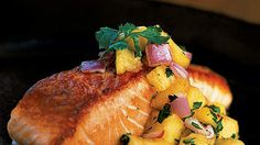 Pan-Grilled Salmon with Pineapple Salsa | Fish is prominent in the Willett plan since it's a lean protein source.