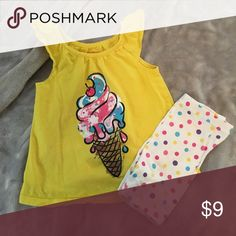 2 pc set 2 pc set. Ice cream print on yellow cap sleeve top. Shorts are biker shorts with multi color Polka dots. Perfect for summer. Shorts have slight fading due to wash and wear but overall look great! Matching Sets