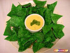Homemade green tortilla chips