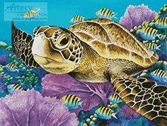 Young Green Sea Turtle cross stitch pattern.