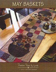 Primitive Folk Art Quilt and Wool Applique Pattern:     MAY BASKETS. $9.50, via Etsy.