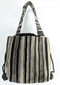 Striped Handbag with Flowerbud Drawstring - Zenbu Home