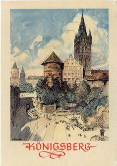 Königsberg (Pr.), Schloß mit Kaiser-Wilhelm-Platz, Zeichnung