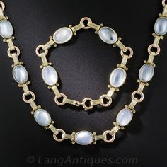 Tiffany & Co. Retro Moonstone Necklace and Bracelet Combo