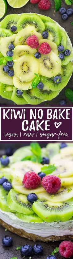 This vegan no bake cake with kiwis is one of my favorite vegan cakes! It doesn't contain any refined sugars and it's super easy to make. Plus, this kiwi cake is awesome for hot summer days when you feel like eating cake but don't want to create additional heat by turning on the oven. Such a yummy recipe! <3 | veganheaven.org